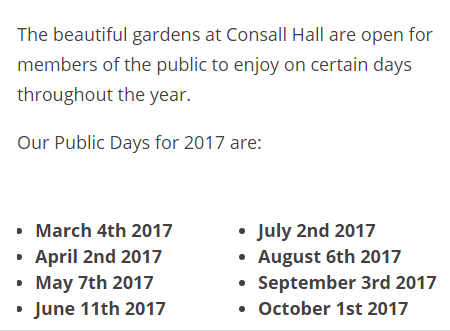 2017 Consall Hall Gardens Open Days