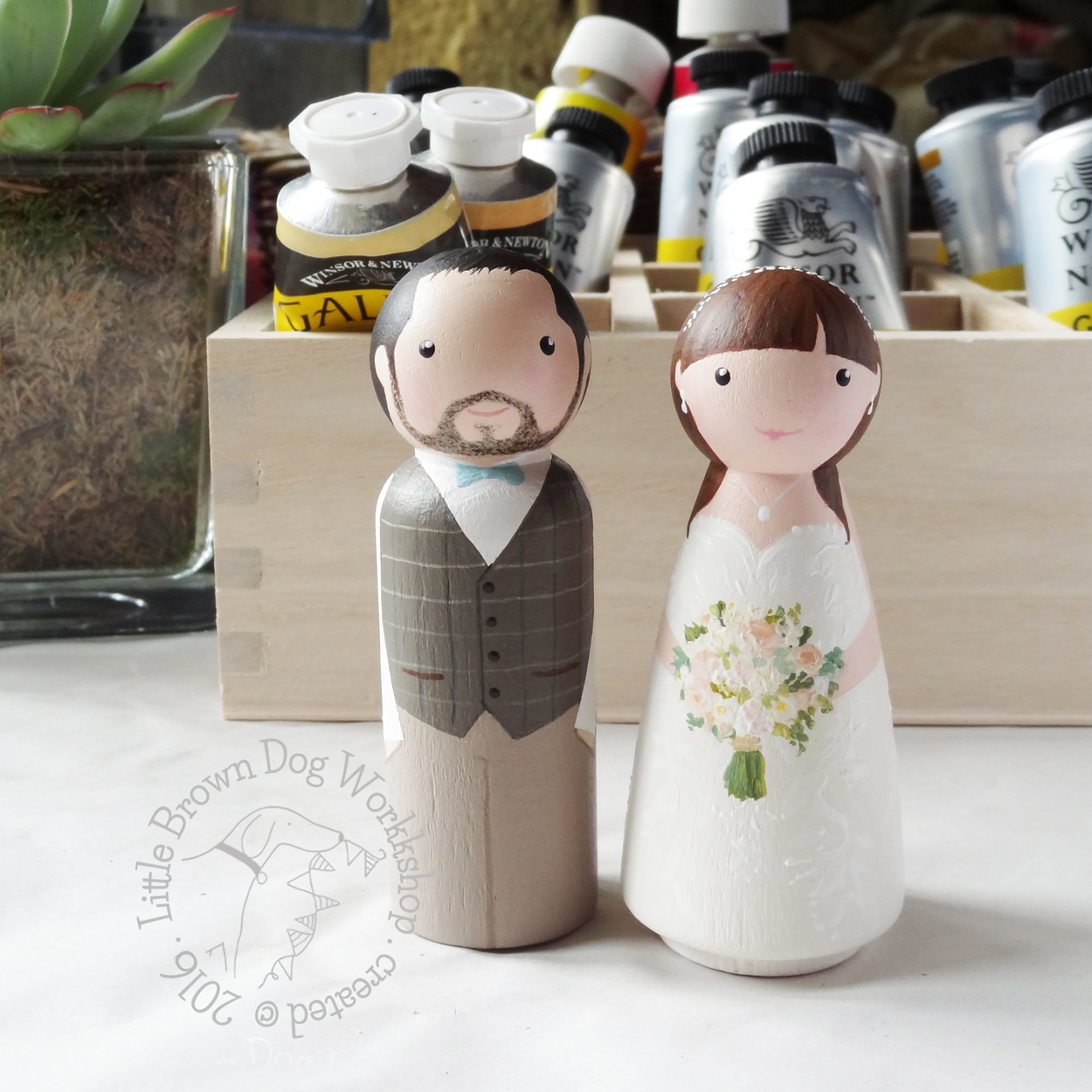 Wooden peg doll wedding cake topper by Little Brown Dog Workshop